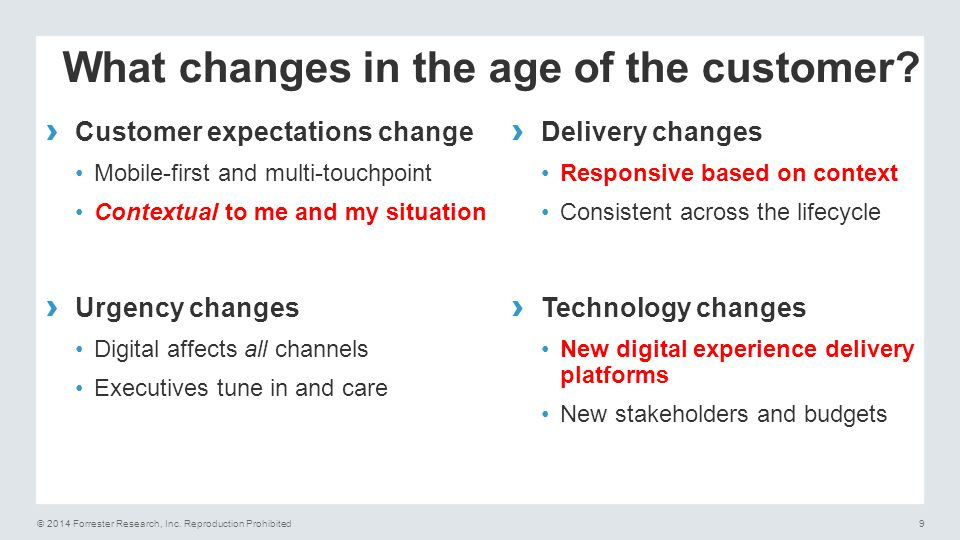 What changes in the age of the customer