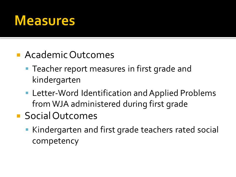 Measures Academic Outcomes Social Outcomes