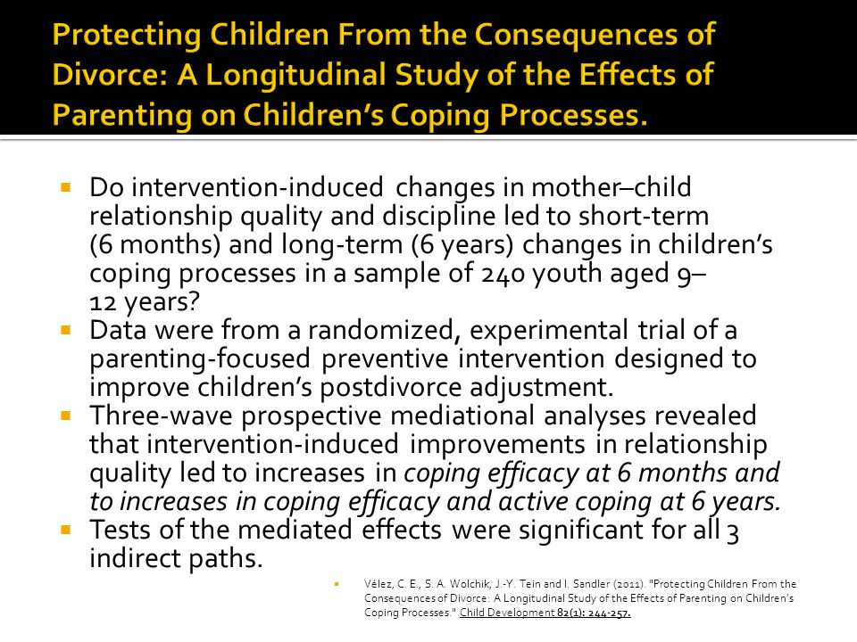 Protecting Children From the Consequences of Divorce: A Longitudinal Study of the Effects of Parenting on Children's Coping Processes.