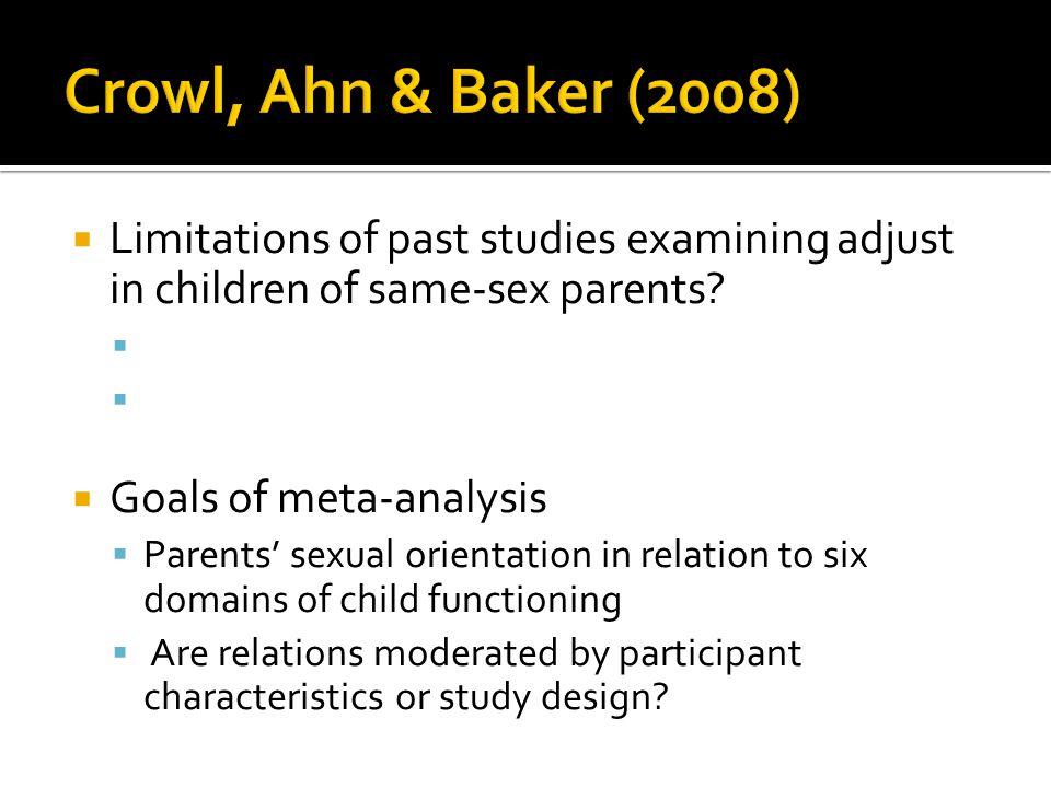 Crowl, Ahn & Baker (2008) Limitations of past studies examining adjust in children of same-sex parents