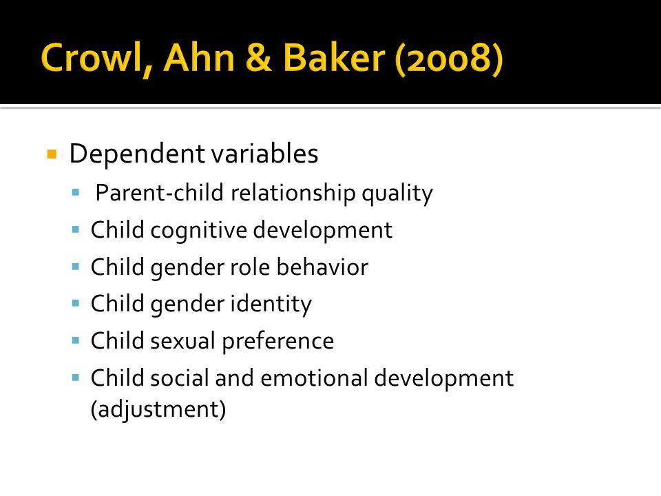 Crowl, Ahn & Baker (2008) Dependent variables