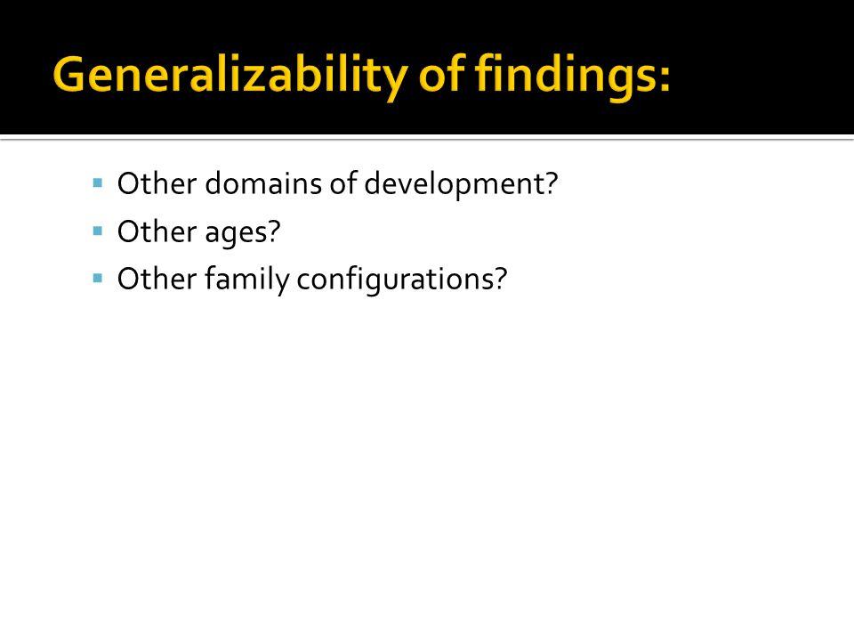 Generalizability of findings: