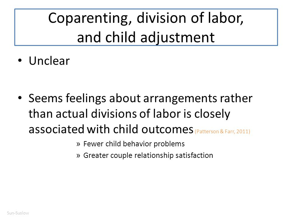 Coparenting, division of labor, and child adjustment
