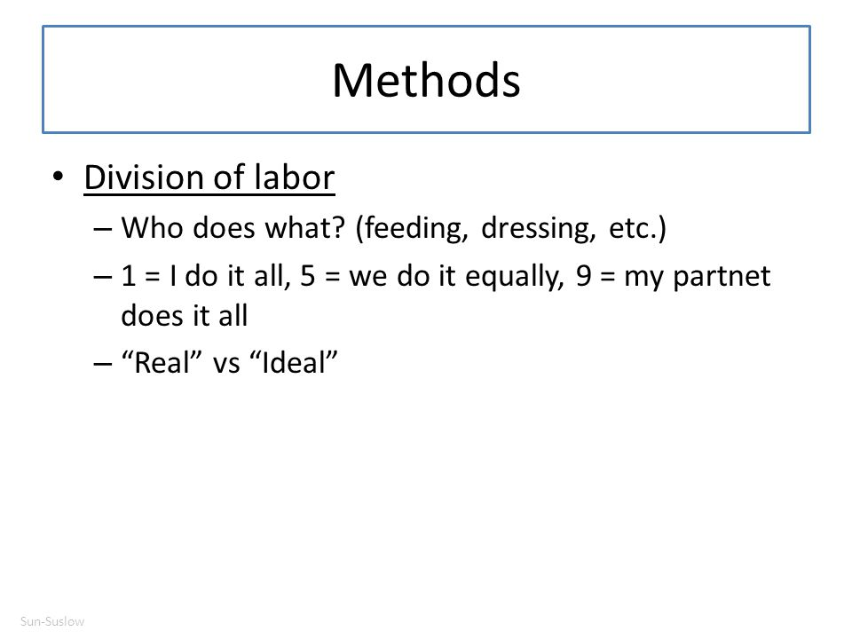 Methods Division of labor Who does what (feeding, dressing, etc.)