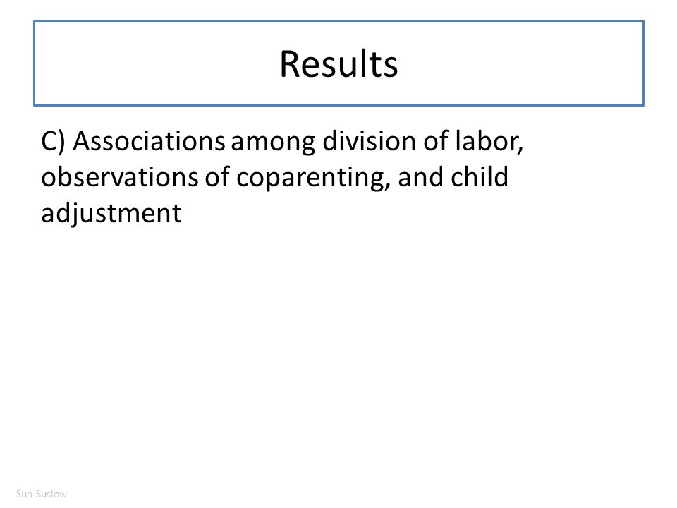 Results C) Associations among division of labor, observations of coparenting, and child adjustment.