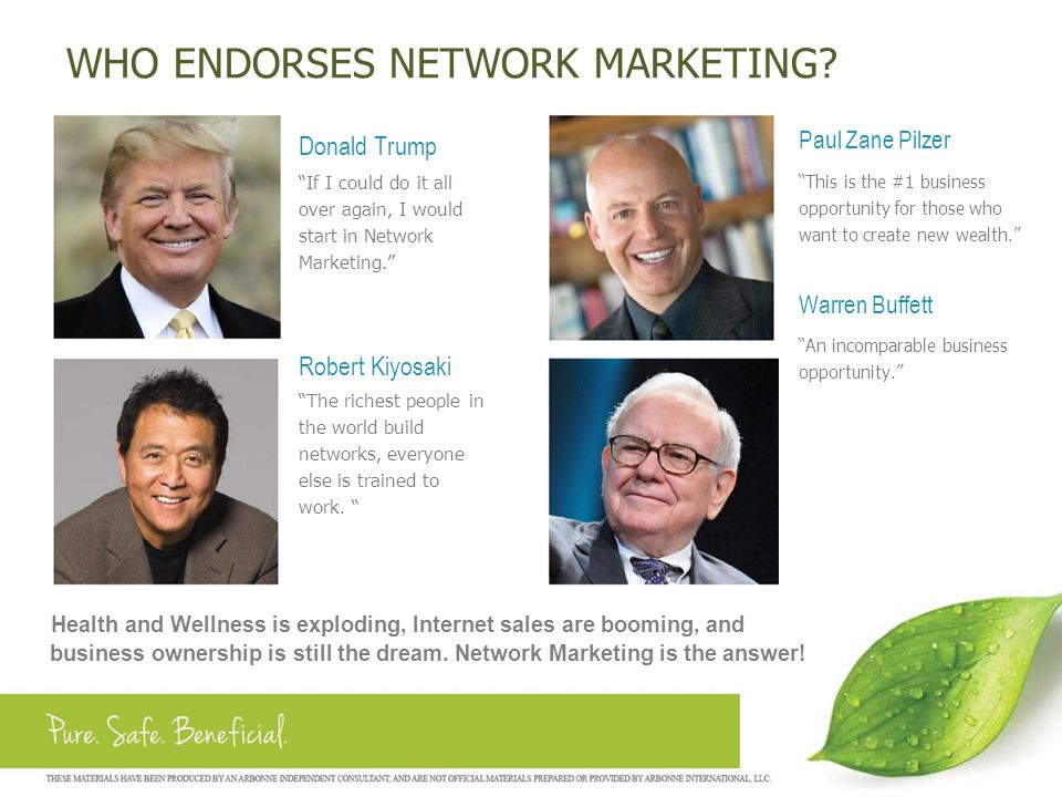WHO ENDORSES NETWORK MARKETING