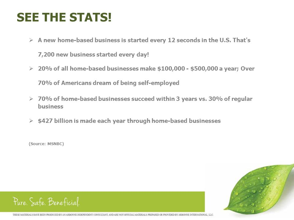 SEE THE STATS! A new home-based business is started every 12 seconds in the U.S. That s 7,200 new business started every day!