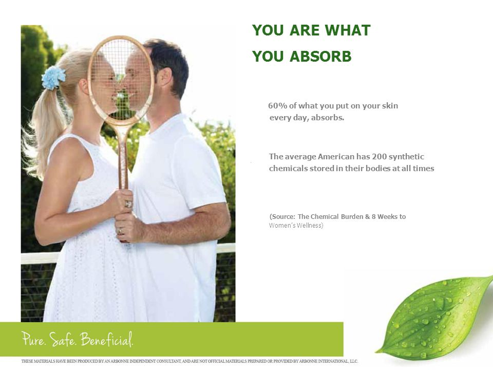 YOU ARE WHAT YOU ABSORB 60% of what you put on your skin