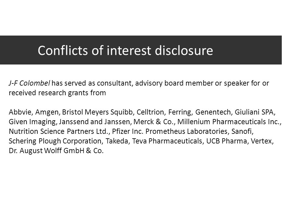 Conflicts of interest disclosure