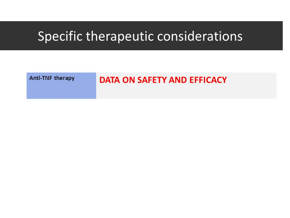 Specific therapeutic considerations
