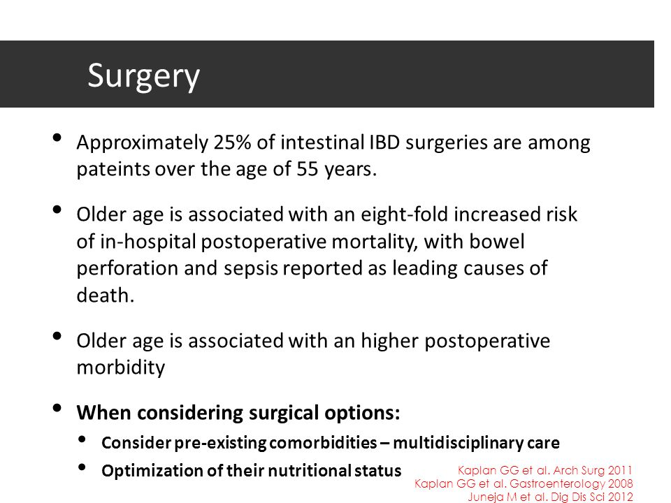 Surgery Approximately 25% of intestinal IBD surgeries are among pateints over the age of 55 years.