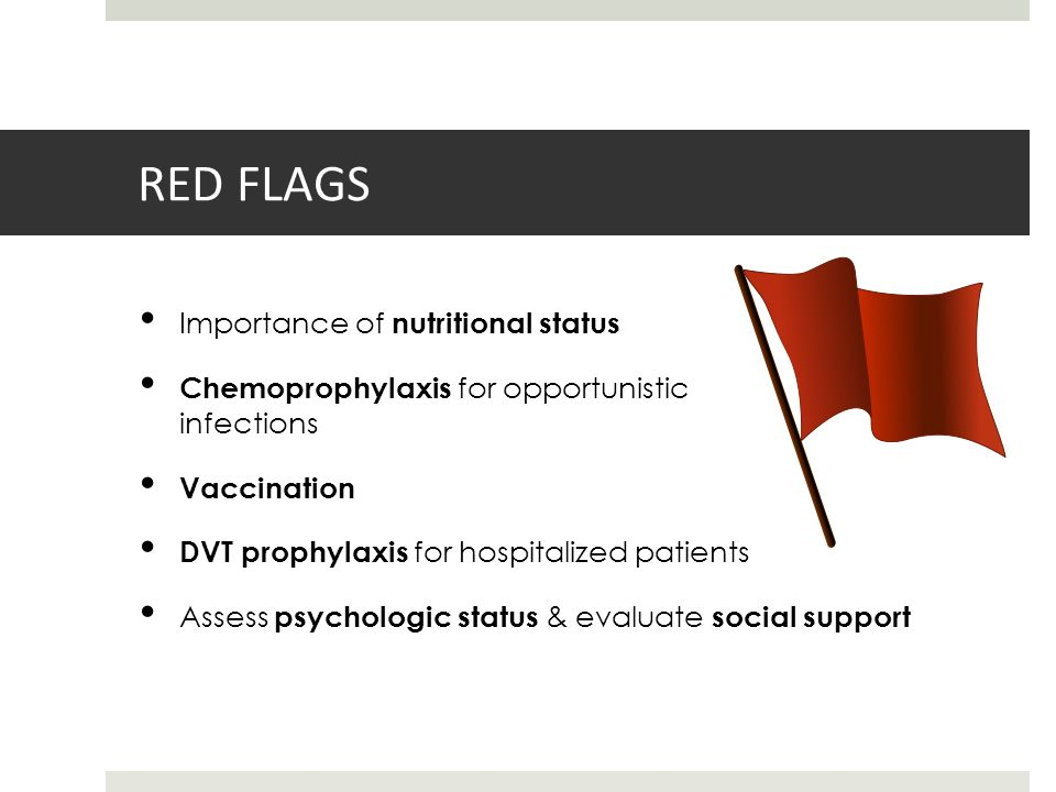RED FLAGS Importance of nutritional status