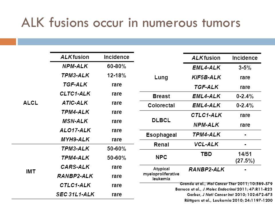 ALK fusions occur in numerous tumors