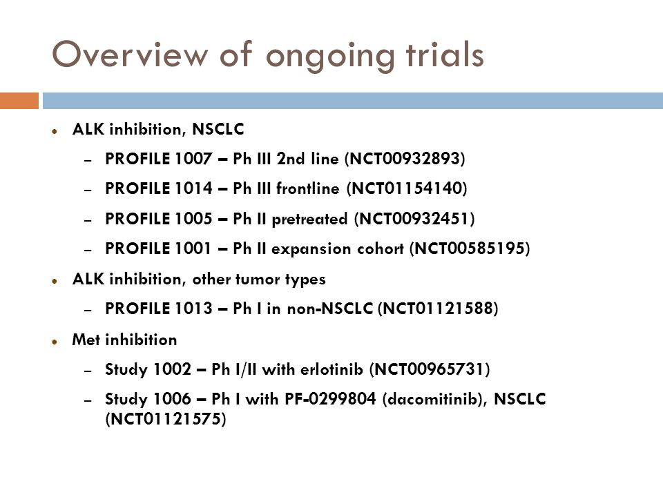 Overview of ongoing trials