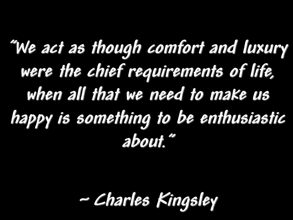 We act as though comfort and luxury were the chief requirements of life, when all that we need to make us happy is something to be enthusiastic about.