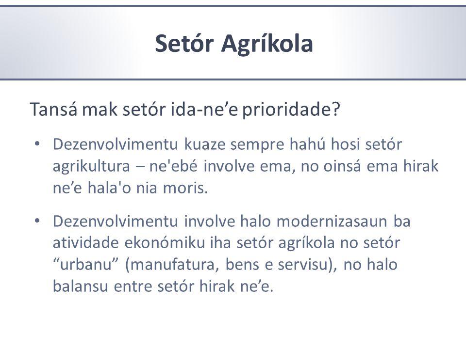 Setór Agríkola Tansá mak setór ida-ne'e prioridade