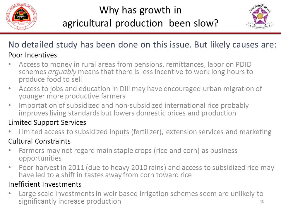 agricultural production been slow