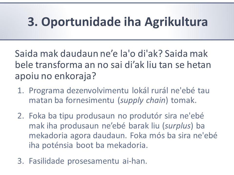 3. Oportunidade iha Agrikultura