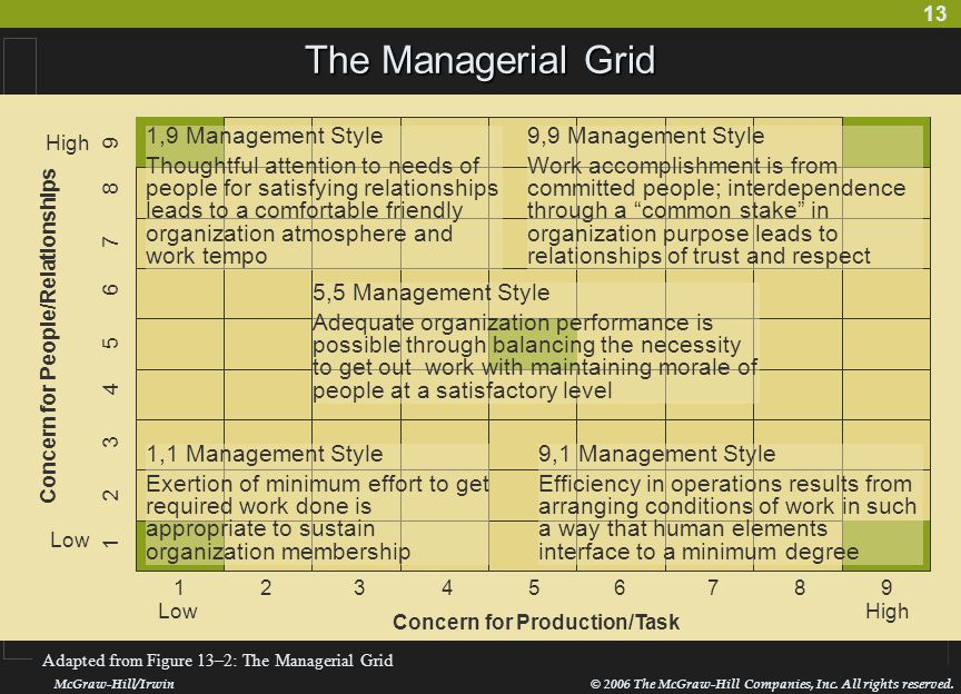 The Managerial Grid 1,9 Management Style