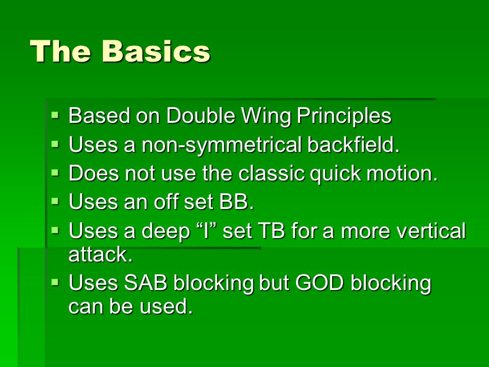 The Basics Based on Double Wing Principles