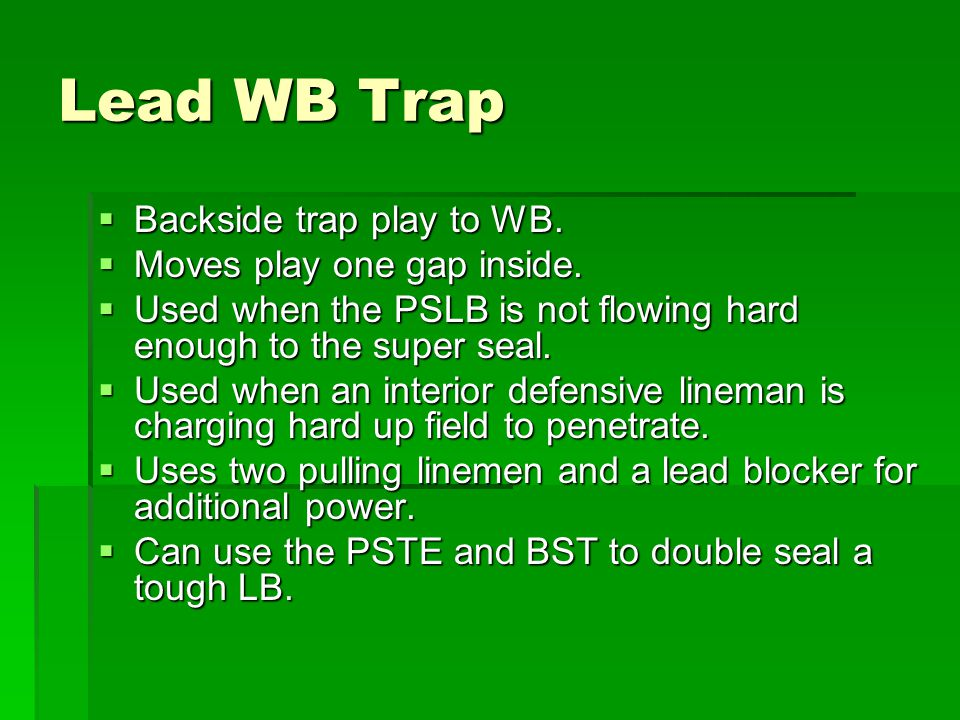 Lead WB Trap Backside trap play to WB. Moves play one gap inside.
