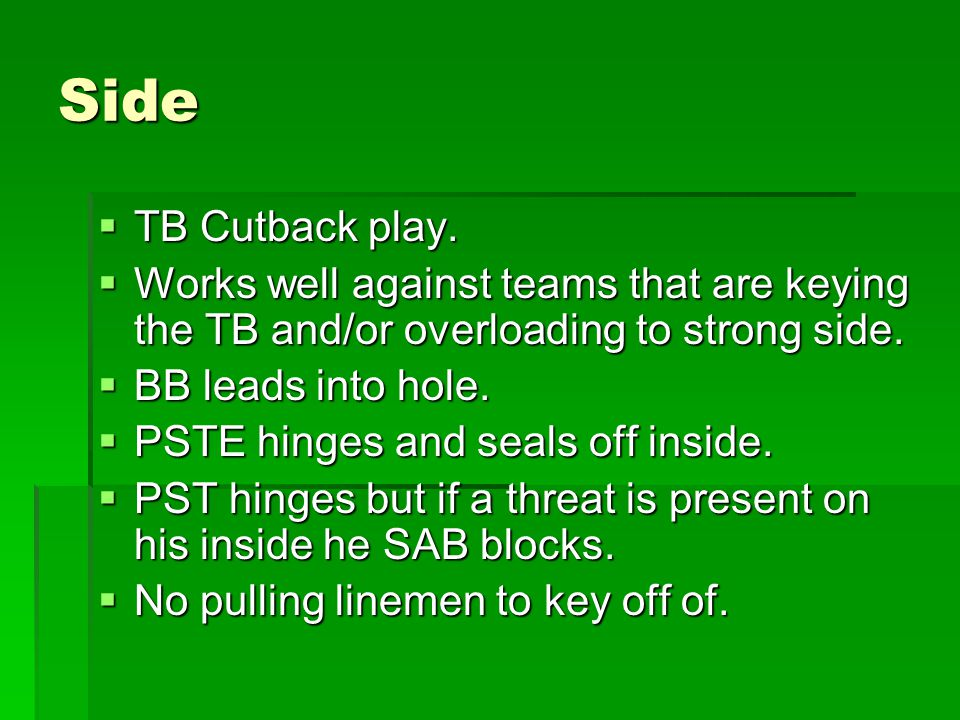 Side TB Cutback play. Works well against teams that are keying the TB and/or overloading to strong side.