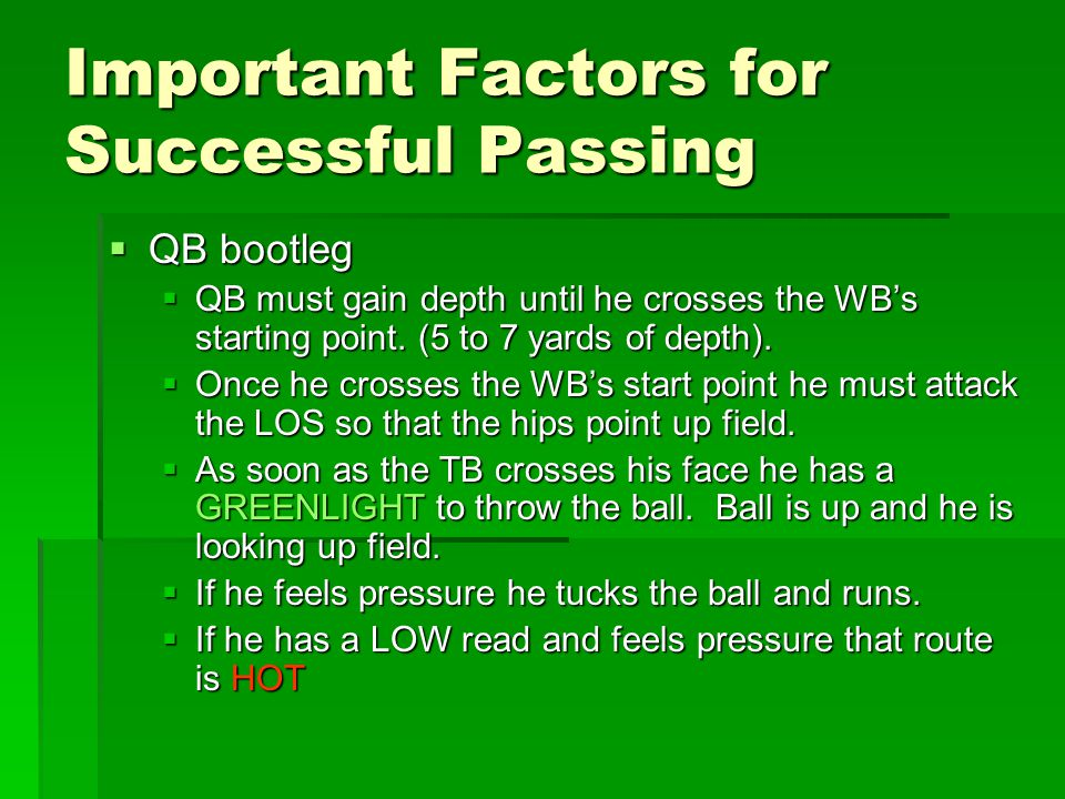 Important Factors for Successful Passing