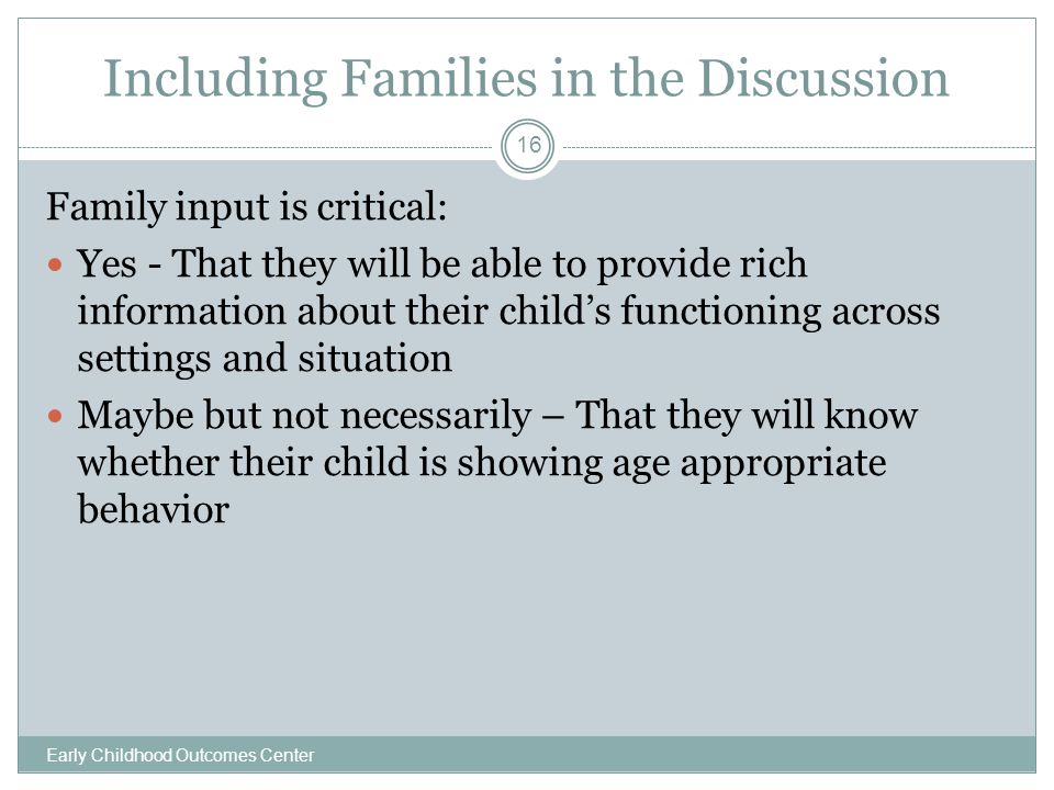 Including Families in the Discussion