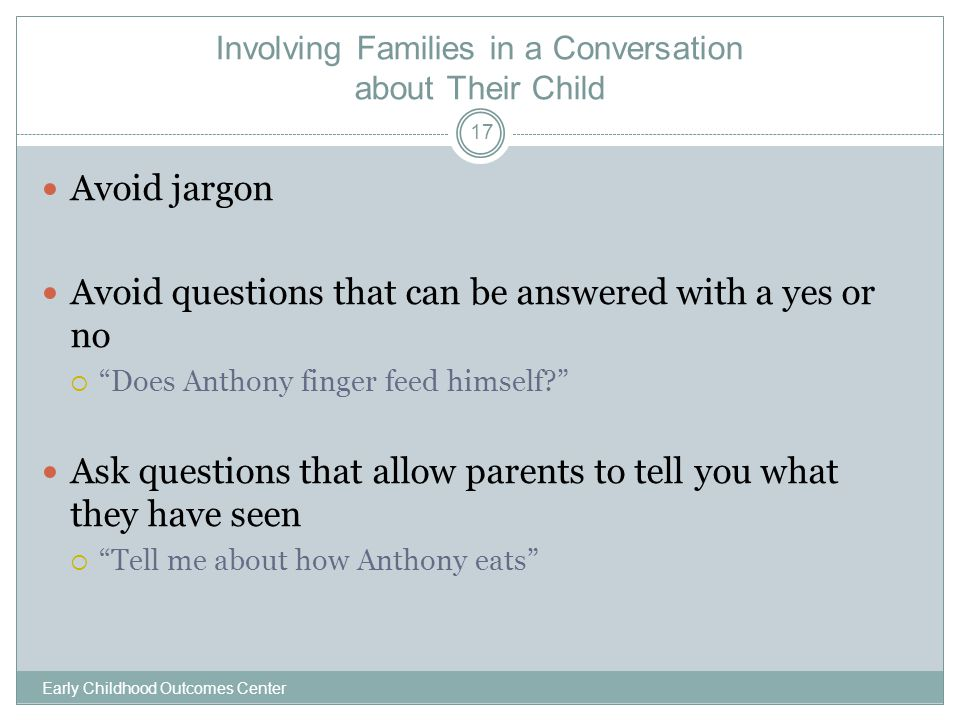 Involving Families in a Conversation about Their Child