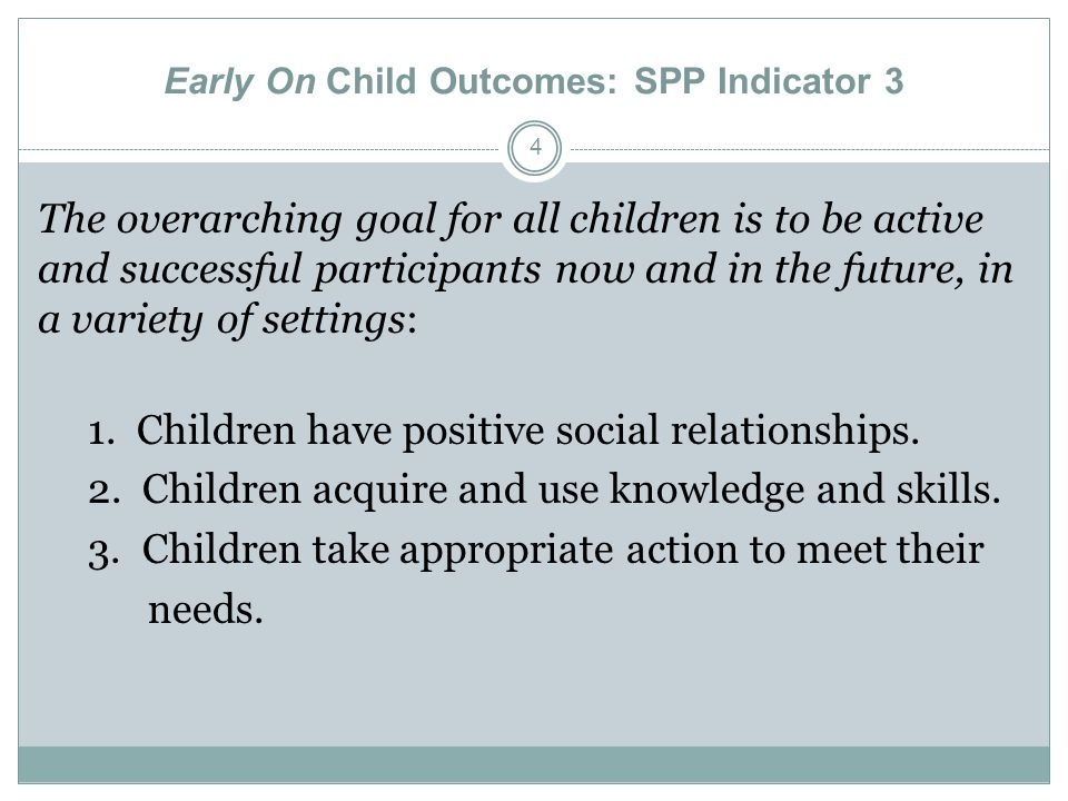 Early On Child Outcomes: SPP Indicator 3
