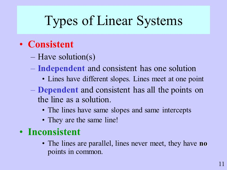 Types of Linear Systems