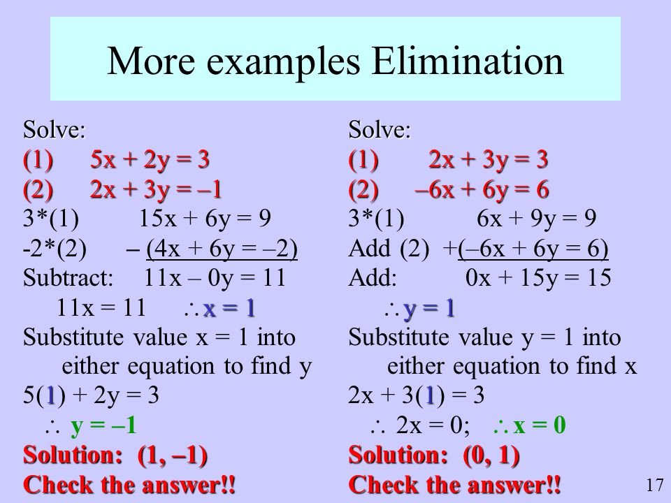 More examples Elimination