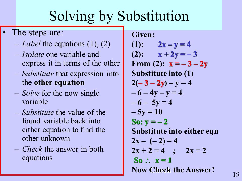 Solving by Substitution