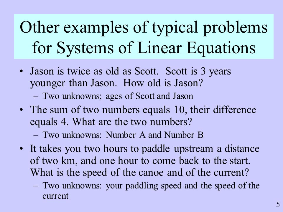 Other examples of typical problems for Systems of Linear Equations