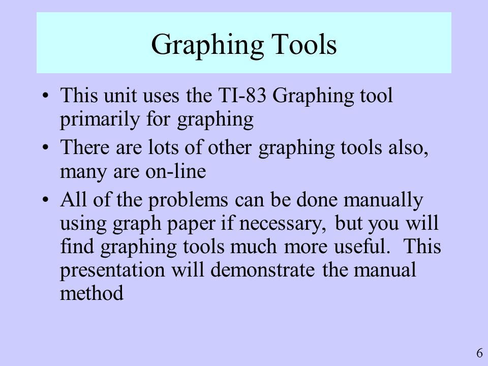Graphing Tools This unit uses the TI-83 Graphing tool primarily for graphing. There are lots of other graphing tools also, many are on-line.