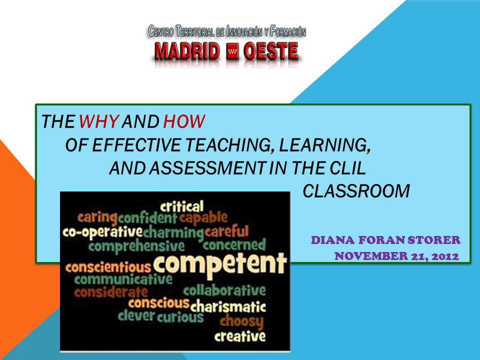 The Why and How of Effective Teaching, Learning, and Assessment in the CLIL Classroom Diana Foran Storer November 21, 2012