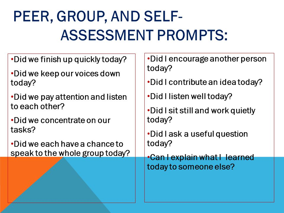 Peer, Group, and Self- Assessment Prompts: