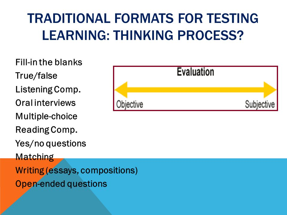 Traditional formats for testing learning: thinking process