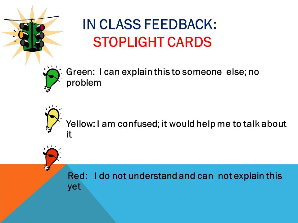 In class feedback: Stoplight cards