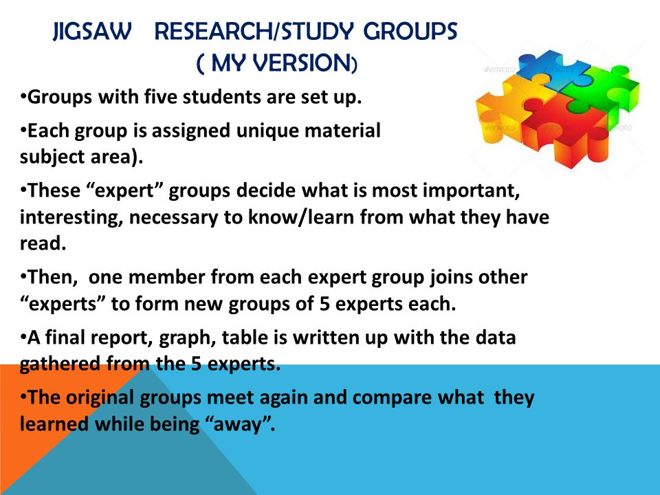 Jigsaw RESEARCH/STUDY GROUPS ( MY VERSION)
