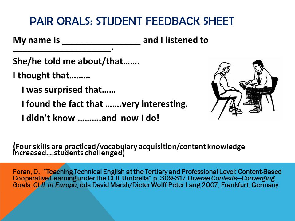 PAIR ORALS: student feedback sheet