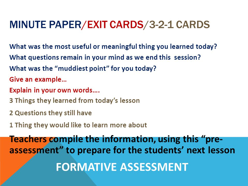 Minute Paper/Exit Cards/3-2-1 Cards