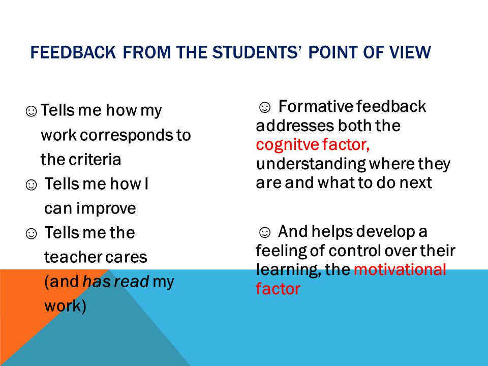 Feedback from the students' point of view