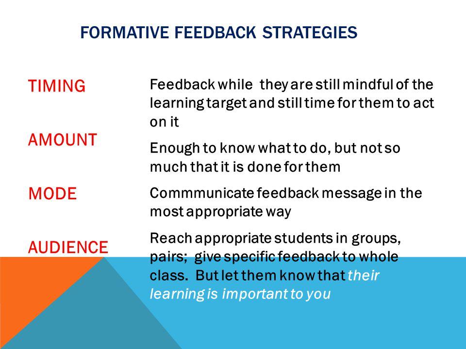 FORMATIVE Feedback Strategies