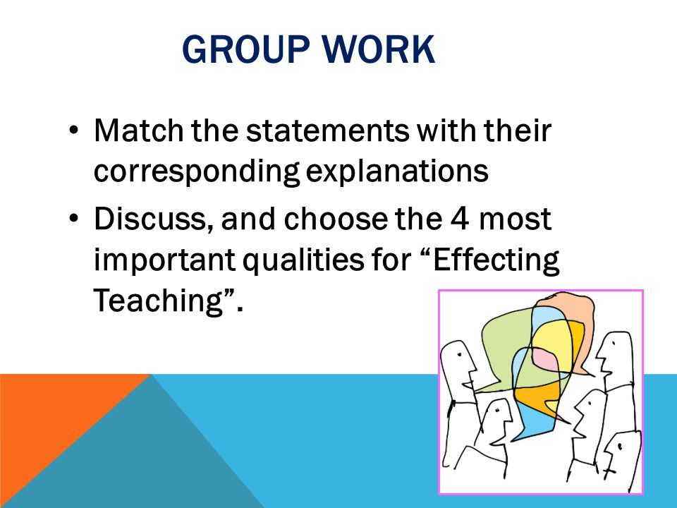 GROUP WORK Match the statements with their corresponding explanations