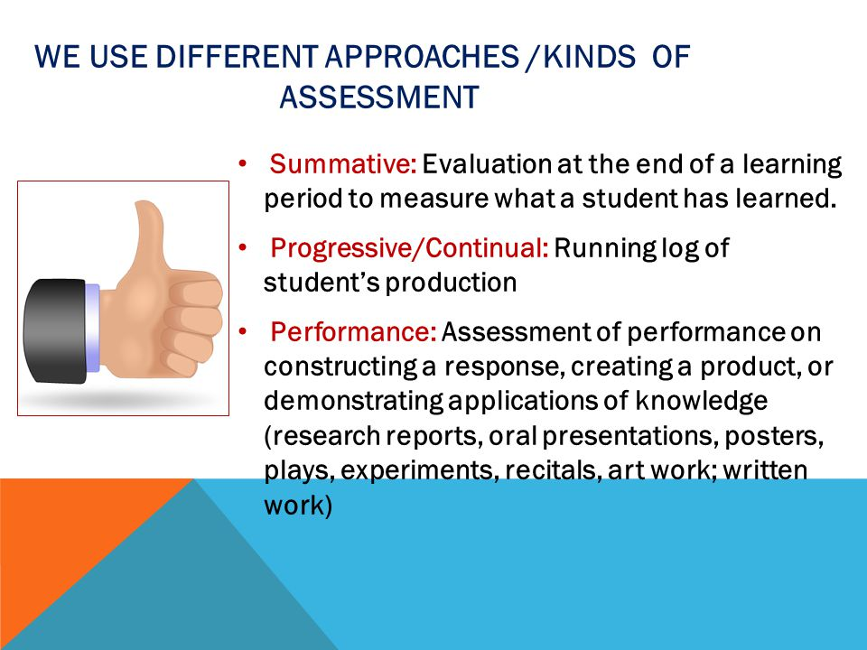 We use different APPROACHES /KINDS of Assessment