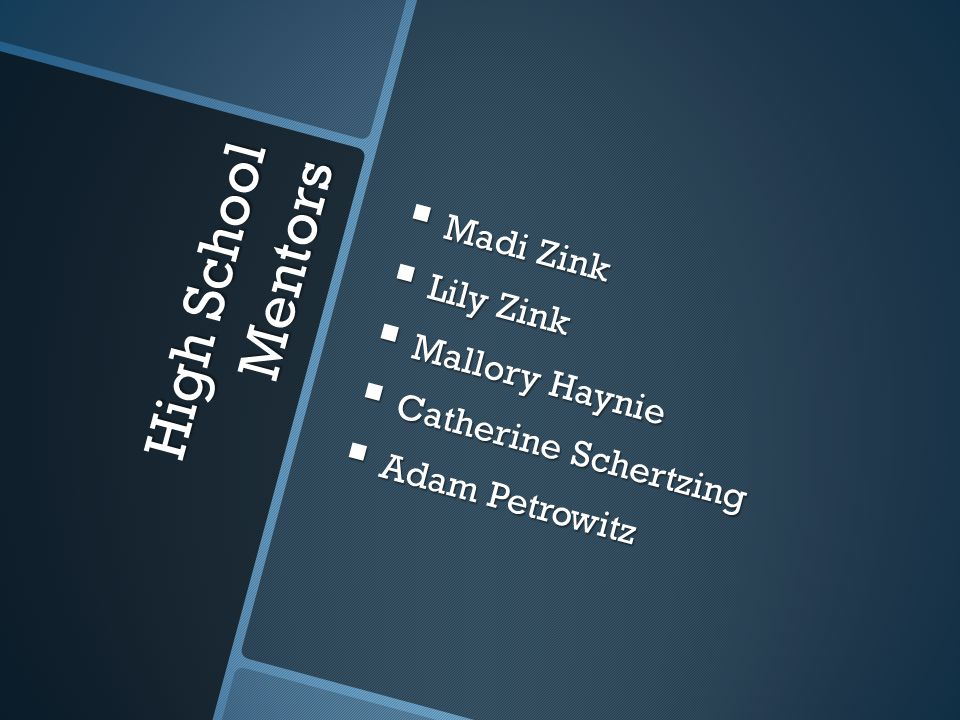 High School Mentors Madi Zink Lily Zink Mallory Haynie
