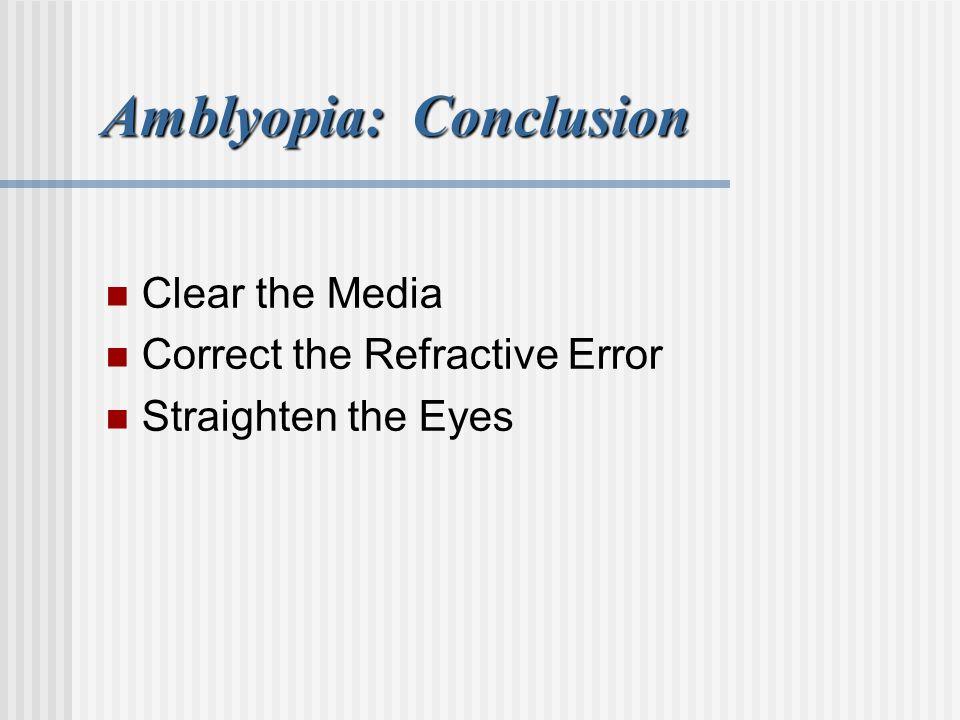 Amblyopia: Conclusion