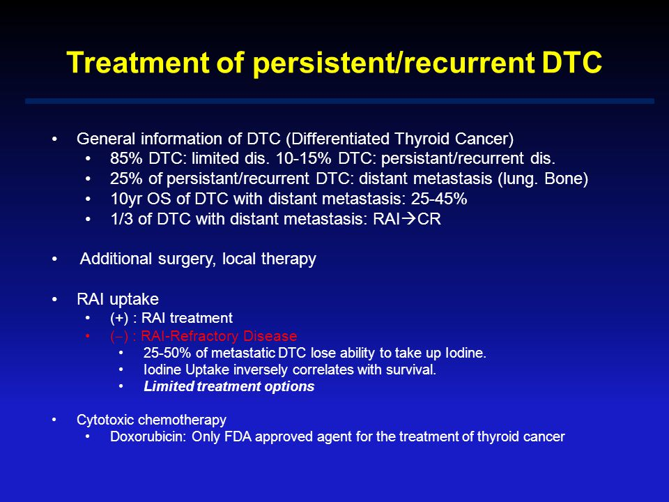 Treatment of persistent/recurrent DTC