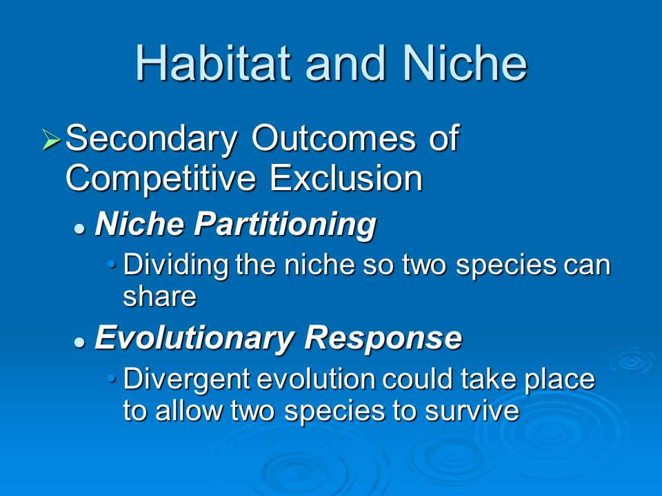 Habitat and Niche Secondary Outcomes of Competitive Exclusion